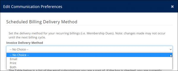 Edit Invoice Delivery Preference in the Info Hub